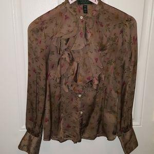 Lauren Ralph Lauren Floral Silk Blouse Size 4P
